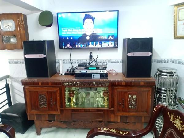 Lắp đặt cho gia đình anh Tuyên ở Hóc Môn bộ dàn karaoke JBL ( JBL Ki512, Famous 3206, DSP 9000, U900 PlusX)
