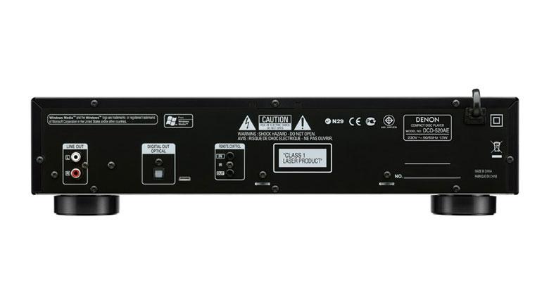 Mặt sau đầu Denon DCD-520AE