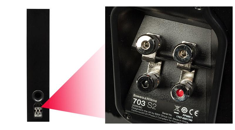 Loa B&W 703 S2 hệ thống cổng kết nối đa dạng, phối ghép dễ dàng