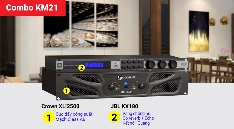 Combo KM21 (Crown XLi2500 + JBL KX180)