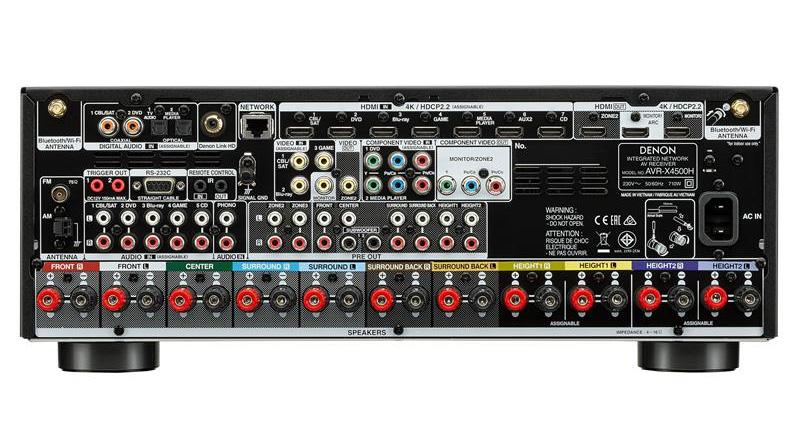 Amply Denon AVR-X4500H mặt sau