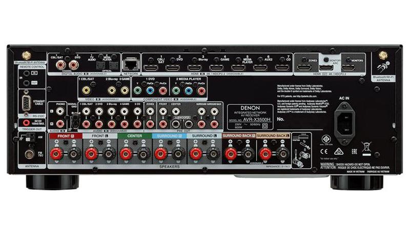 Amply Denon AVR-X3500H mặt sau