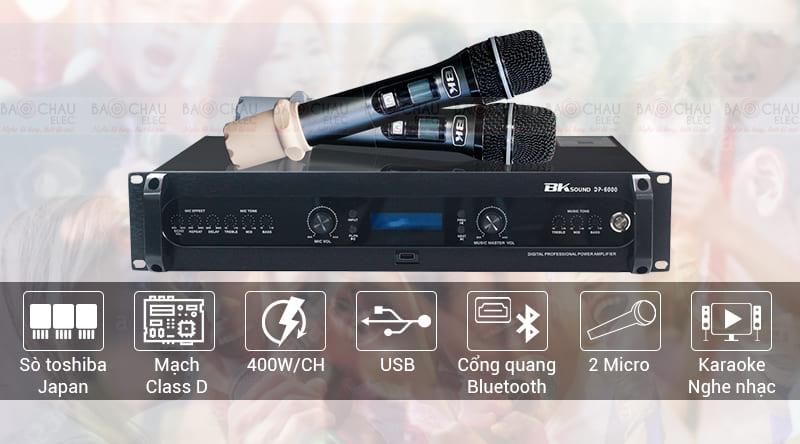 Đẩy liền vang kèm micro không dây BKsound DP6000 chính hãng, giá tốt