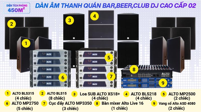 Hệ thống âm thanh quán bar, beer, Club DJ cao cấp 02 ( 300m2)