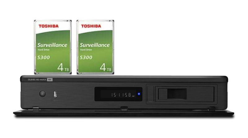 Combo Đầu Dune HD HD Max 4K + 2 Ổ Toshiba 4TB S300 - Kết nối 2 ổ gắn trong.