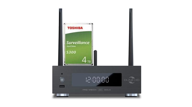 Combo Đầu Dune HD Pro Vision 4K Solo + Ổ Toshiba 4TB S300 - Kết nối Ổ gắn bên trong