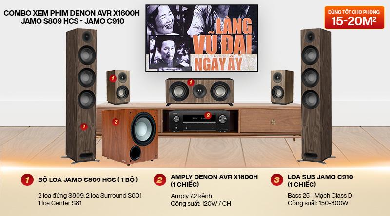Combo xem phim Denon AVR X1600H - Jamo S809 HCS - Jamo C910