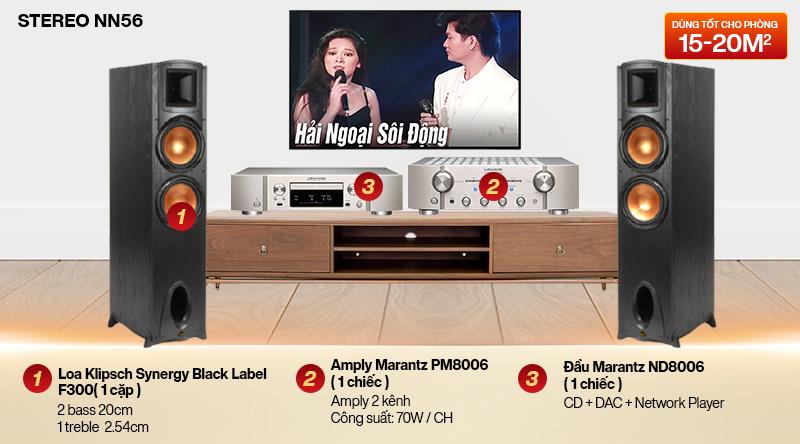 Dàn nghe nhạc 2 kênh Stereo NN56 (Klipsch Label F300 + Marantz PM8006 + Marantz ND8006)