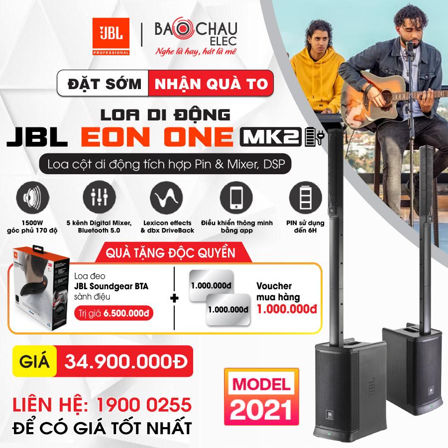 Loa JBL Eon One MK2 (New 2021, loa cột di động, có bluetooth, tích hợp pin, DSP, Mixer)