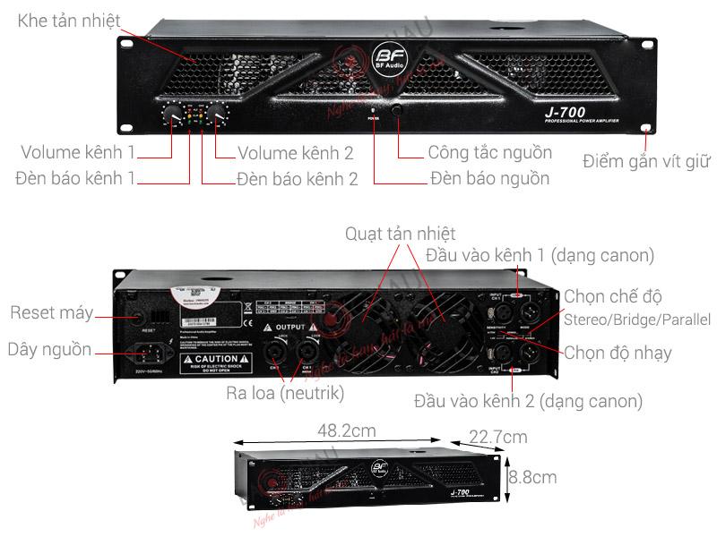 Thông số kỹ thuật Cục đẩy BF Audio J-700