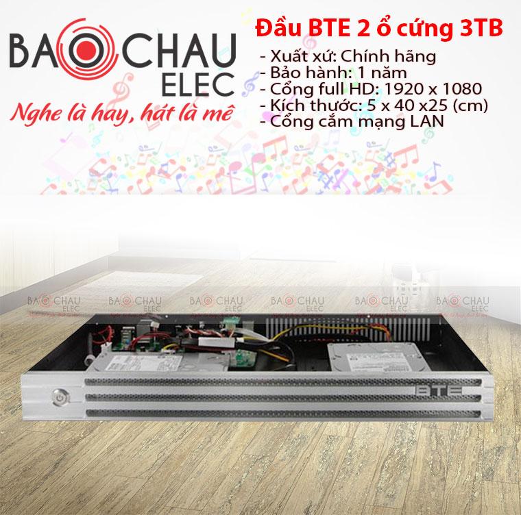 Đầu karaoke BTE 2 ổ cứng 3T