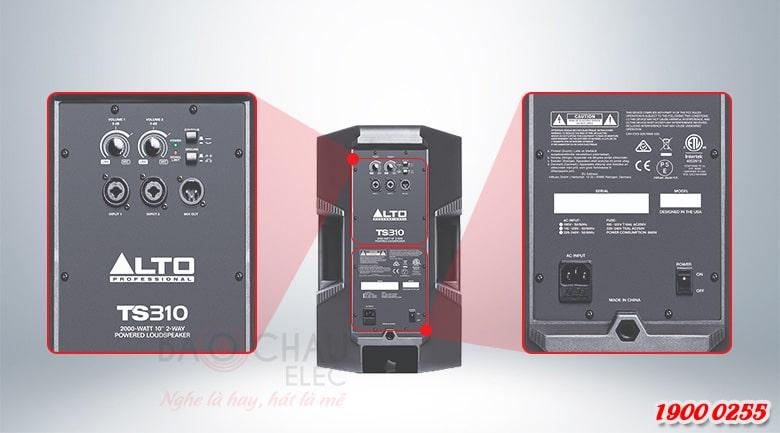 Mặt sau Loa Alto TS310 đầy đủ thông số kỹ thuật và jack kết nối