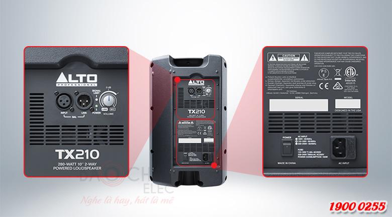 Loa Alto TX210 đầy đủ thông số kĩ thuật, jack kết nối ở mặt sau