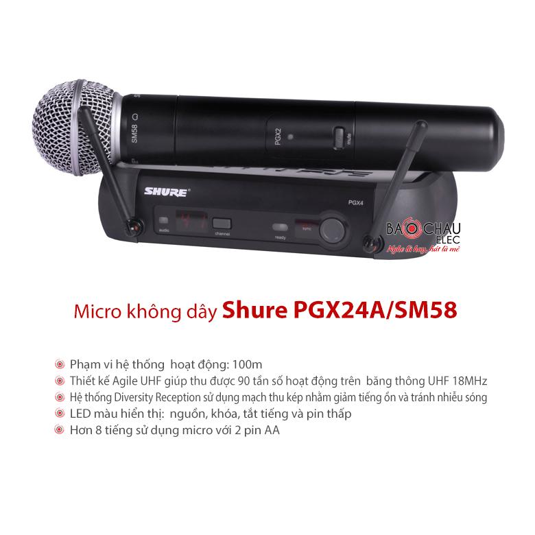 Micro Shure PGX24A/SM58 chính hãng giá tốt