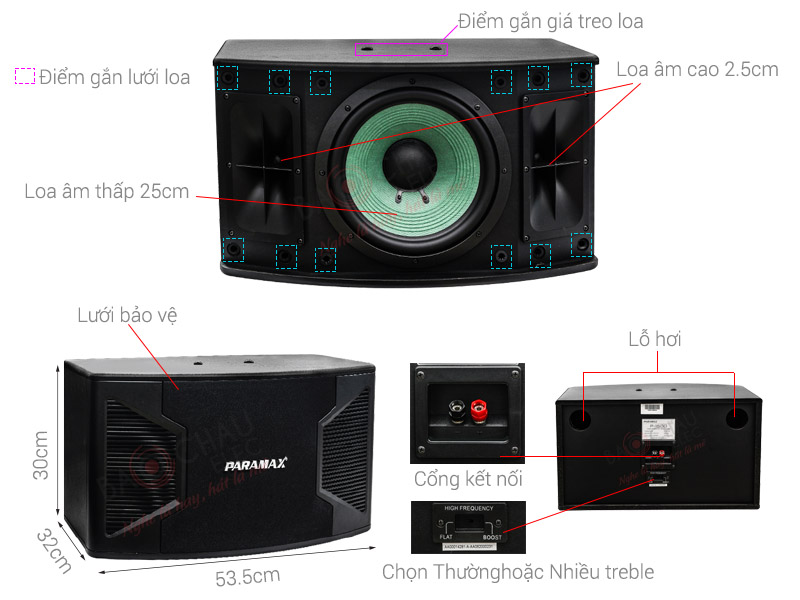 Thông số kỹ thuật Loa karaoke Paramax P1500