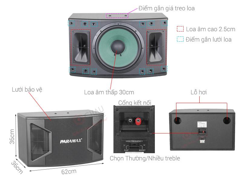 Thông số kỹ thuật Loa karaoke Paramax P2500